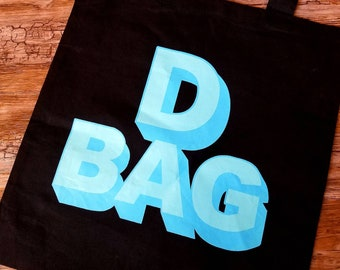 D Bag Black and Blue Cotton Canvas Tote Funny