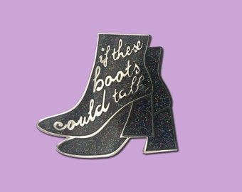 Retro 60's If These Boots Could Talk Silver Red Black Glitter Hard Enamel Pin