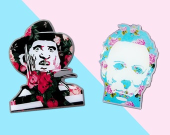 Michael and Freddy Horror Floral Hard Enamel Pin Pack