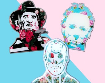 Michael, Jason and Freddy Horror Floral Hard Enamel Pin Pack