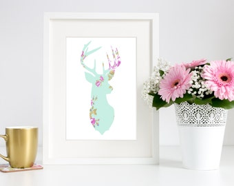 Woodsy Adorable! Floral Deer Head Mounted Silhouette Baby Pastel Print 8x10