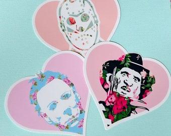 Killer Trilogy Floral Heart Sticker Pack Jason Michael Freddy