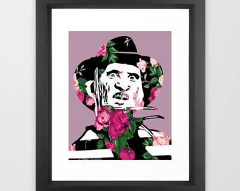 Floral Freddy Krueger Horror Nightmare on Elm Street Print 8x10""