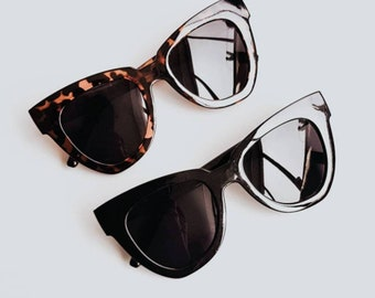 Retro Oversized Wayfarer Cat Eye Haley Sunglasses Vintage