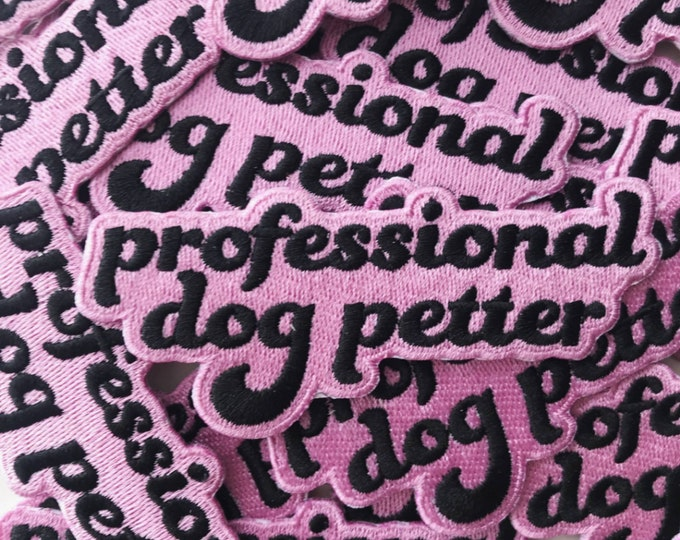Professional Dog Petter iron on patch pets pastel pink