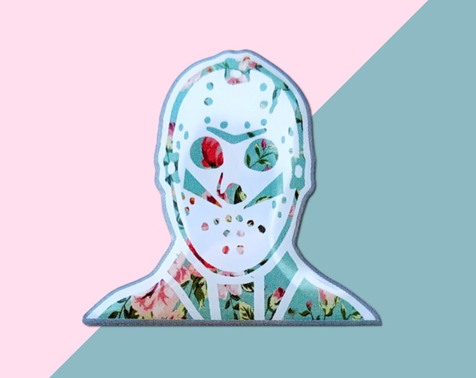 Floral Jason Friday the 13th Girlie Funny Enamel Lapel Pin