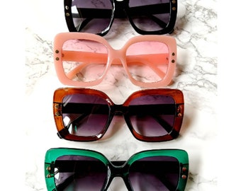 The Natalia Sunglasses Oversized Large Square Retro Sunnies with Metal Dots Vintage