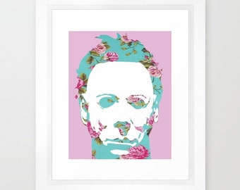 Floral Michael Myers Mask Horror Halloween Pop Art Print 8x10""