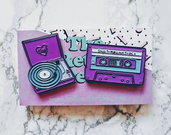 Retro Vinyl Record Player and Cassette Tape Enamel Pins Pack (2 set)