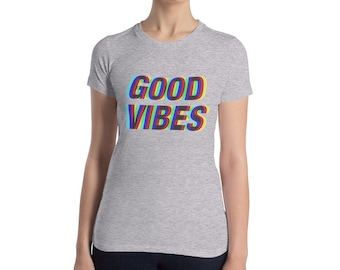 Women's Good Vibes Trippy Technicolor Slim Fit T-Shirt
