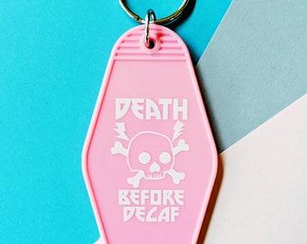 Death Before Decaf Cute Metal Skull Vintage Pink Motel Keychain