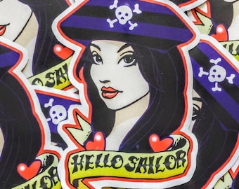 "Hello Sailor Nautical Tattoo 3"" Stickers Slaps"