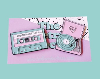 Retro Vinyl Record Player and Cassette Tape Enamel Pins Pack (2 set)
