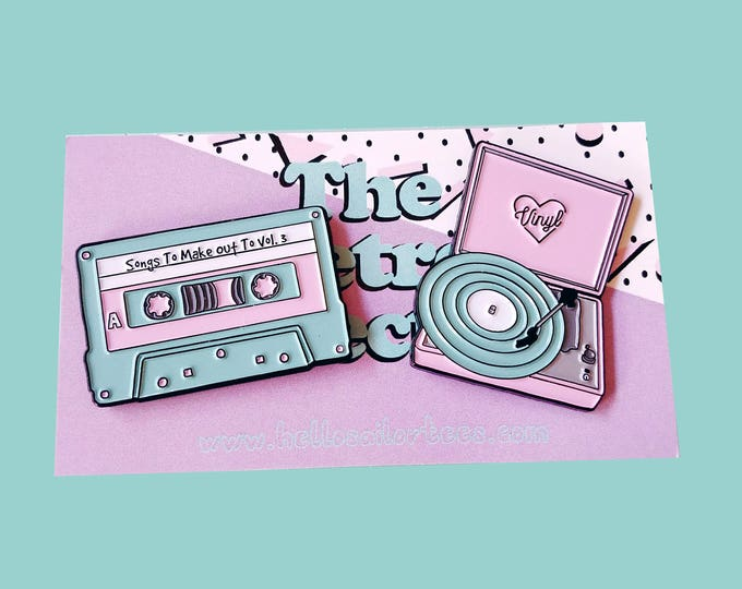 Featured listing image: Retro Vinyl Record Player and Cassette Tape Enamel Pins Pack (2 set)