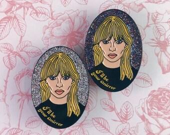 Nico I'll Be Your Mirror Velvet Underground Glitter Enamel Pin