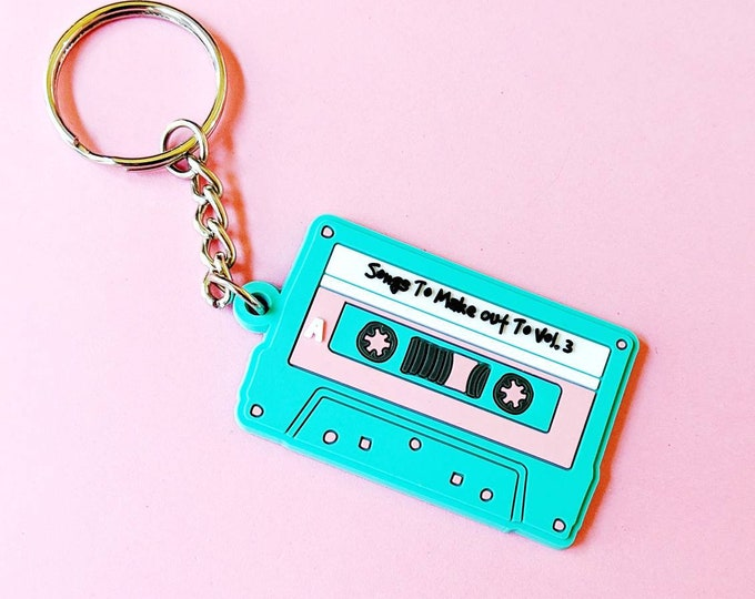 Pastel Songs To Make Out To Mixtape Cassette Retro Plastic Keychain