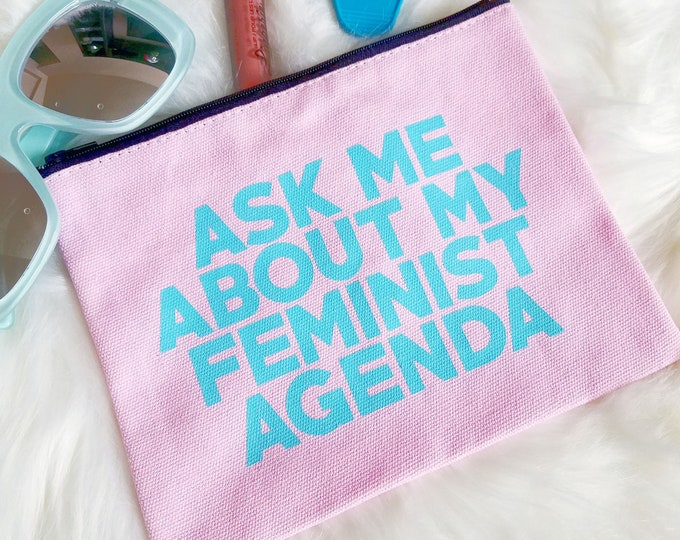 Ask Me About My Feminist Agenda Canvas Pink Blue Make Up Studio Bag