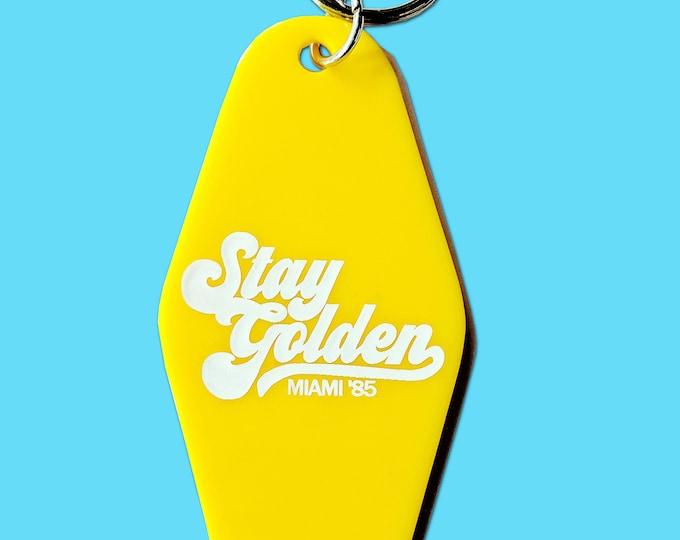 Stay Golden Miami Plastic Motel Hotel Key chain Retro Golden Girls