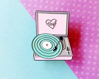 Retro Pastel Neon Vinyl Record Players Enamel Lapel Pin