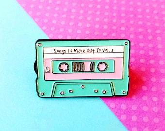 Retro Cassette Tape Make Out Mix Enamel Lapel Pin
