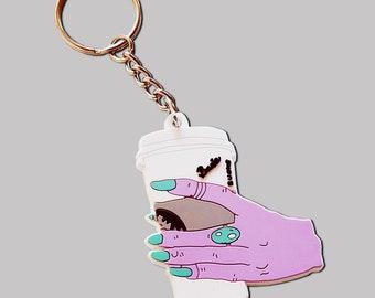 Basic Witch Coffee Hand Plastic Keychain