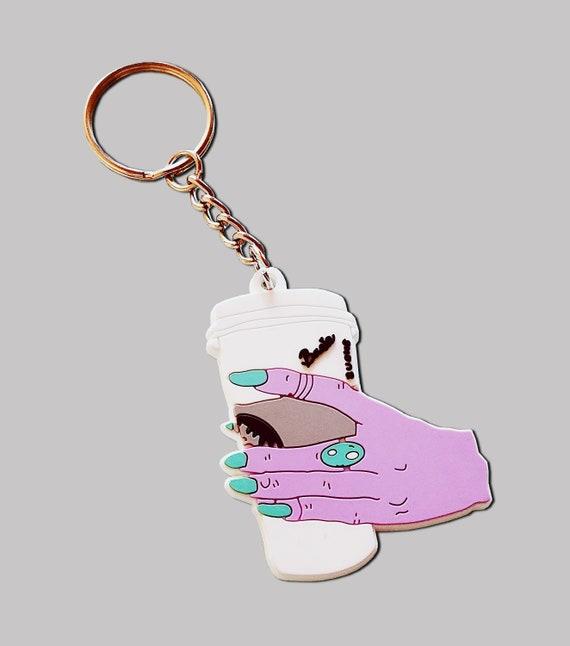 Basic Witch Coffee Hand Plastic Keychain