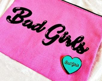 Bad Girls Make Up Bag and Hard Enamel Pin Bundle