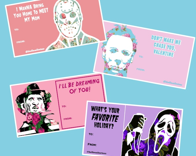 Horror Themed Pop Culture Valentine's Day Cards Pack Michael Jason Freddy Ghost