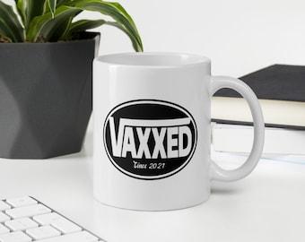 Vaxxed Since 2021 Skate White glossy mug