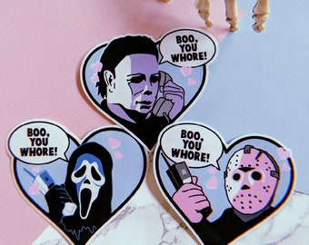 Vinyl Stickers Boo You Whore Jason Michael Ghost Horror Cute Stickers