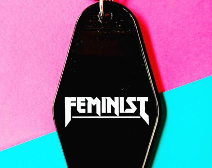 Feminist Metal Vintage Motel Acrylic Keychain