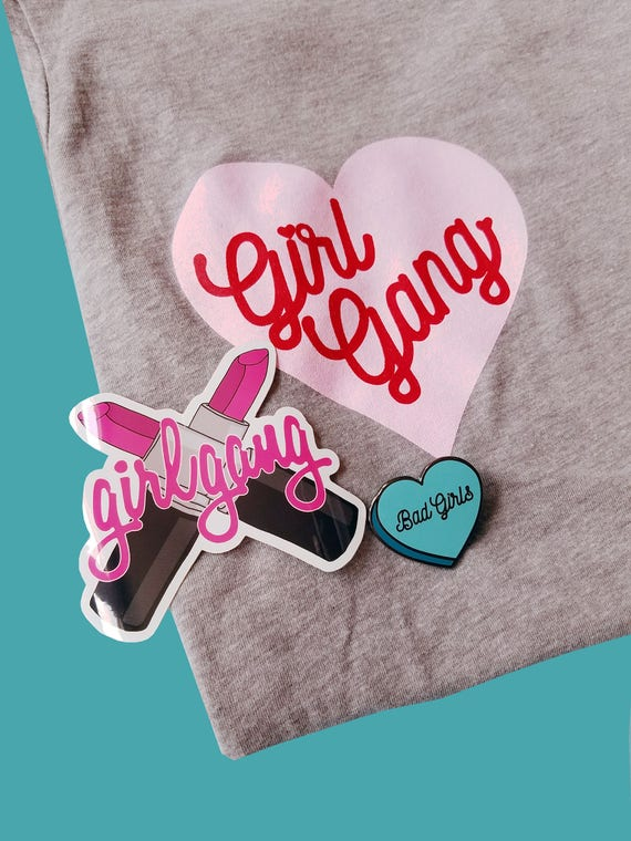Girl Gang T-Shirt Pin Sticker Bundle