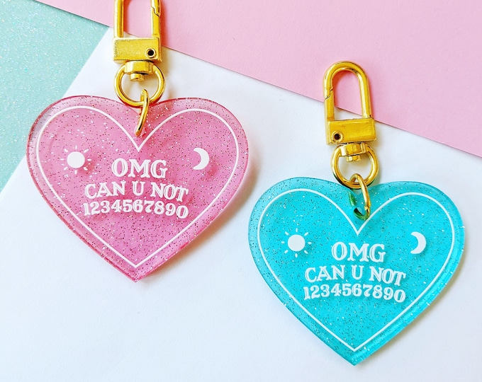 OMG Can You Not Ouija Planchette Heart Clear Glitter Acrylic Keychain