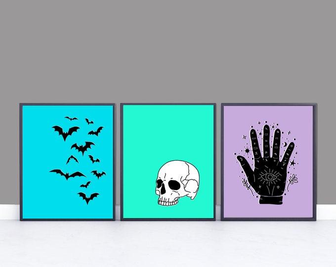 Digital Downloadable Spooky Prints Skull Bats Palmistry Halloween  Pop Art Files