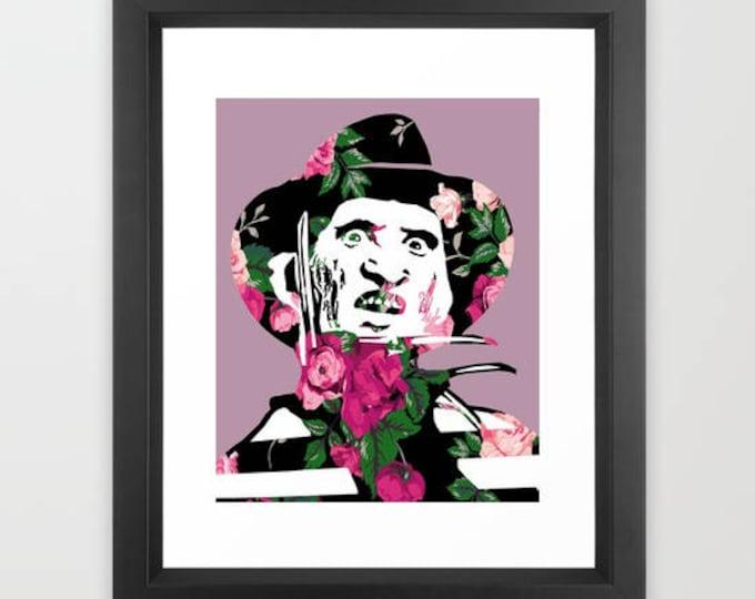 """Floral Freddy Krueger Horror Nightmare on Elm Street Print 8x10"""""""