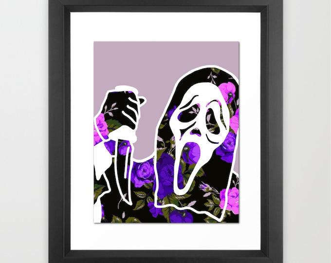 "Floral Ghostface Slasher 90s Teen Movie 8x10"" Art Print"