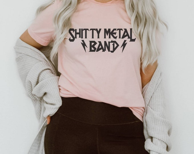 Shitty Metal Band Parody Funny Lightning Bolt Rock Short-Sleeve Unisex T-Shirt