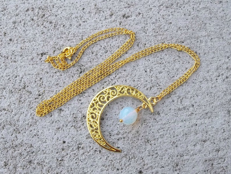 Real Natural Iridescent Opal Opalite Moonstone Gemstone Stone Ball Beaded Filigree Moon Wicca Spiritual Healing Gold Charm Necklace 23