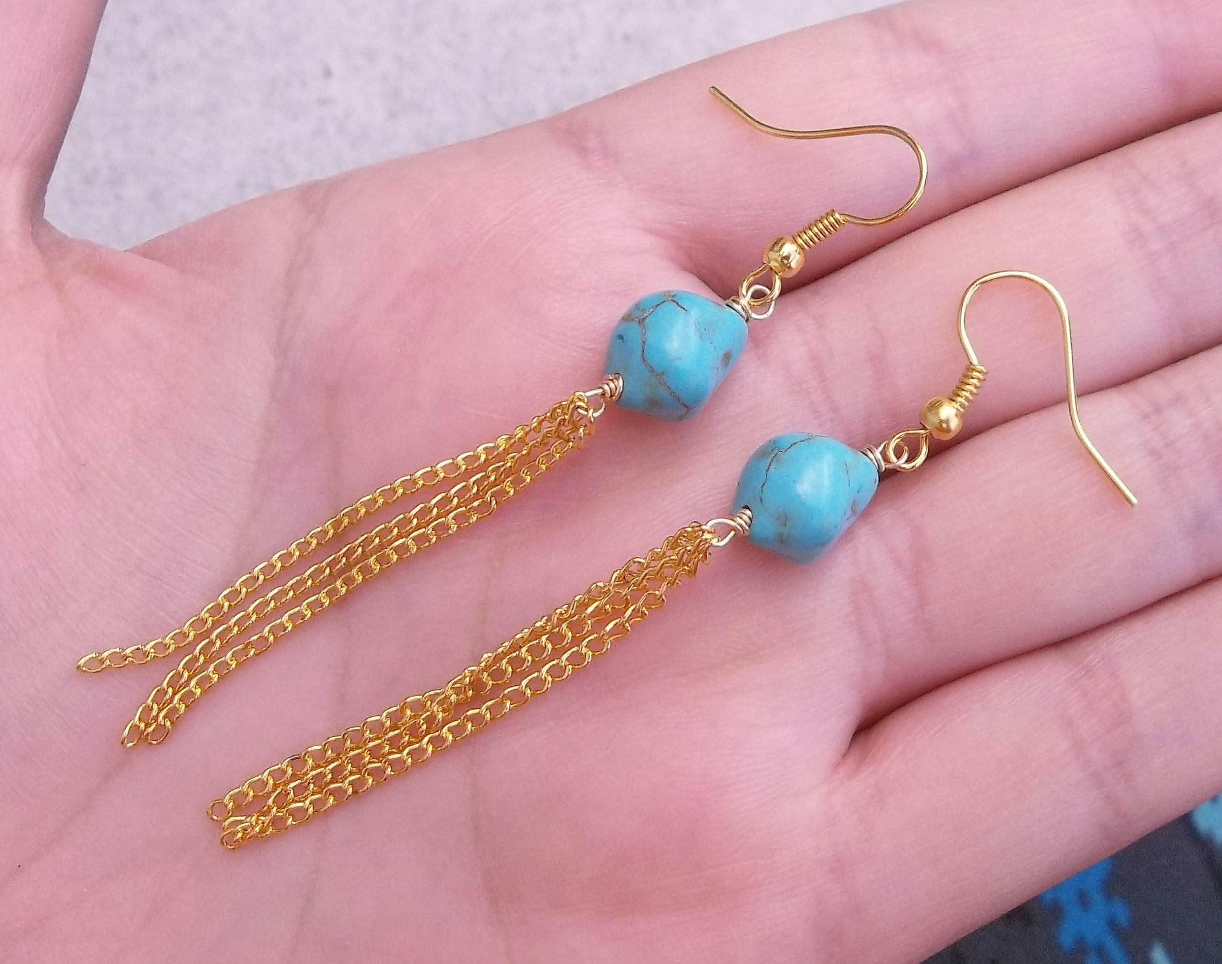 Real Natural Triangle Diamond Shaped Blue Turquoise Gemstone Stone Rock Retro Vintage Bohemian Simple Silver Drop Dangle Earrings 2.3