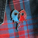 Dragon Heart pin badge - blue and red