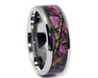 Pink Camo Wedding Rings by ONE CAMO  - Beveled Pink Camo Titanium Engagement Wedding Ring - Birthday Gift