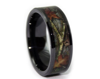 Black Camo Wedding Rings by ONE CAMO - 8mm Black Rings - Ceramic Wedding Ring for Electricians