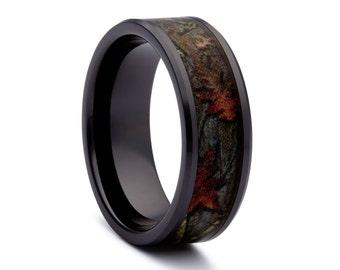 Black Camo Wedding Rings by ONE CAMO - Black Titanium Wedding Ring - Black Rings
