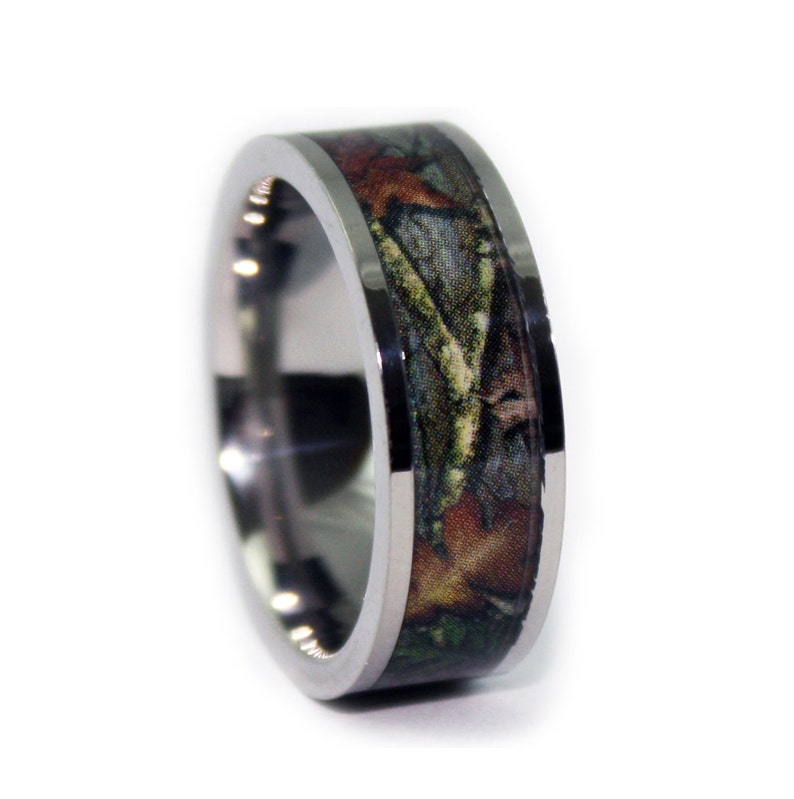 Camo Wedding Rings By One Camo Flat Titanium Mens Wedding Band Camo Engagement Rings