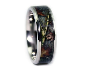 Camo Wedding Rings by ONE CAMO - Beveled Titanium Mens Wedding Band - Camouflage Rings - Birthday Gift
