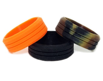 Silicone Wedding Ring 3 PACK - Outdoor Rings Great for Climbing, CrossFit, Gym, Electricians - 100% Silicone Camo Wedding Rings