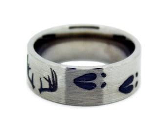 Deer Antler Wedding Ring - Titanium Mens Wedding Band - Antler Shed Anniversary Gift