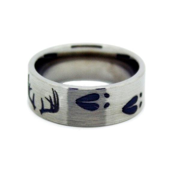Deer Antler Wedding Ring Titanium Mens Wedding Band Antler Etsy