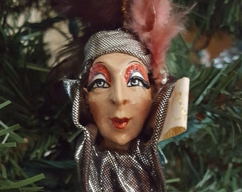 Retired Wayne Kleski ornament for Katherine's Collection/ mardi gras jester ornament with gift box / katherines collection ornament/ tassel