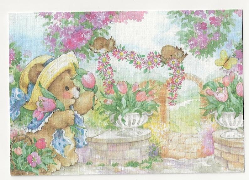 Cute Bear Garden Little Birds Animal Artwork Greeting Cards Unused No Envelope